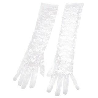 Unique Bargains Pair Feminine Bridal Floral Print Hollow Out Lace Fullfinger Gloves White