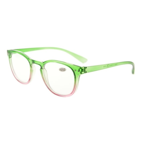 Eyekepper Fashion Readers Womens Reading Glasses (Green-Pink Frame, +3.50)