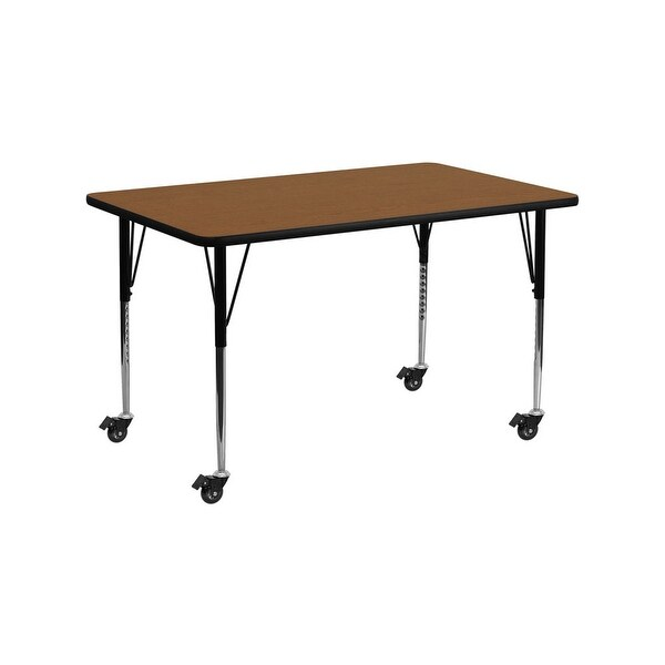 """Offex 24""""W x 60""""L Mobile Rectangular Activity Table with 1.25"""" Thick High Pressure Oak Laminate Top and Height Adjustable Leg"""