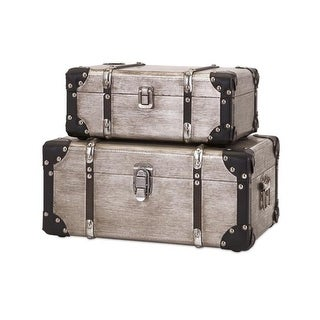 "Set of 2 Dapper Aplomb Wooden Storage Box Suitcase Trunks with Metal Accents 15"" - Silver"