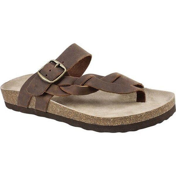 White Mountain Women's Honor Thong Sandal Brown Leather
