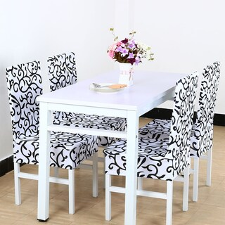 Unique Bargains Stretch Dining Chair Cover (Option: white + black - Modern & Contemporary)