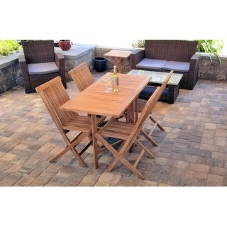 Zenvida 5 Piece Folding Teak Patio Dining Set