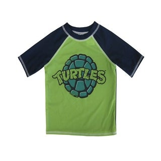 "Nickelodeon Little Boys Green ""Turtles"" Print Short Sleeve Rashguard"