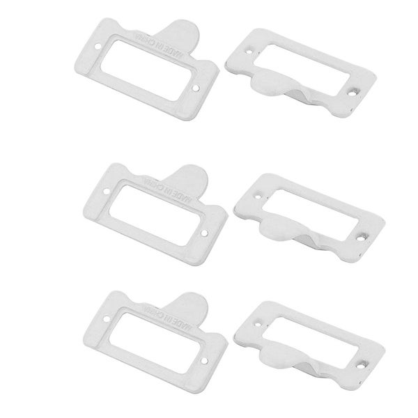 Home Office Metal Frames Shelves Drawer Case Tag Label Card Holders White 6 Pcs