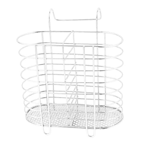 Unique Bargains Stainless Steel Tableware Tube Cage Rack Drain Chopsticks Spoon Holder - Silver