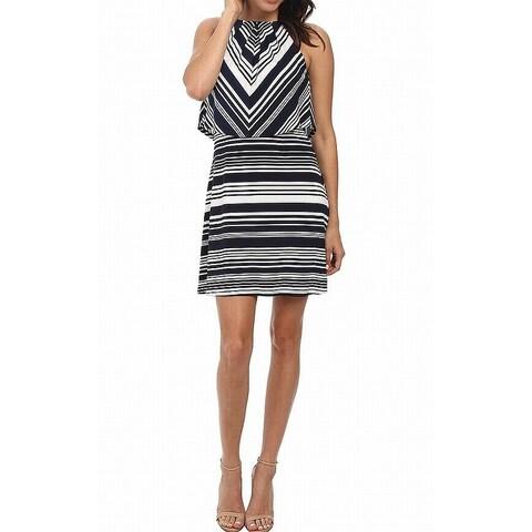 Jessica Simpson Blue Womens Size 14 Striped Popover Sheath Dress