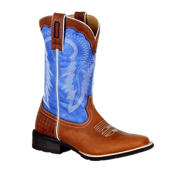 Durango Western Boots Womens Mustang Pull On Brown Blue