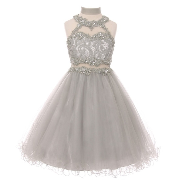 eb0f8d392326 Little Girls Silver Rhinestone Halter Neck Lace Tulle Flower Girl Dress 6