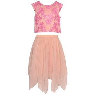 Rare Editions Girls Mauve Floral Embroidered Angled Hem 2 Pc Skirt Set