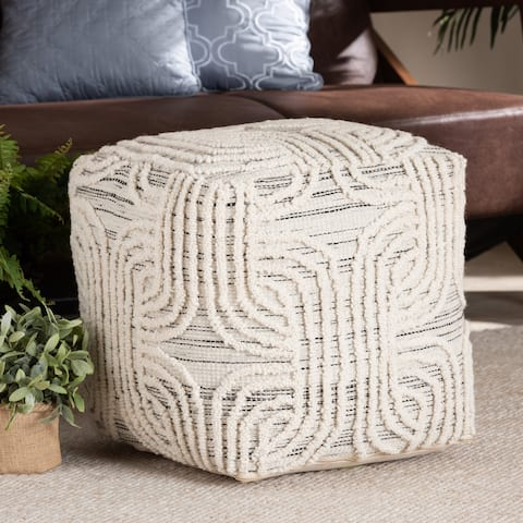 Arlett Modern and Bohemian styled Handwoven Wool Pouf and Ottoman