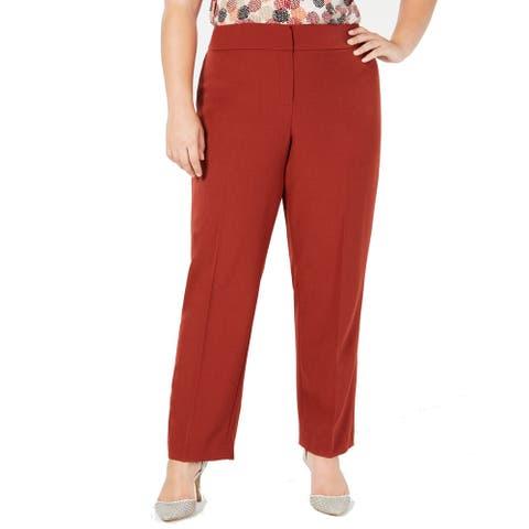 Kasper Womens Dress Pants Russet Red Size 24W Plus Flat-Front Stretch