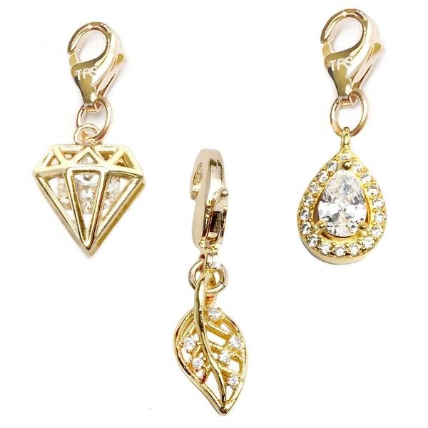 Julieta Jewelry Leaf, Diamond, Teardrop 14k Gold Over Sterling Silver Clip-On Charm Set