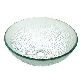 Tempered Glass Vessel Frosted Clear Bathroom Sink Pop-up In