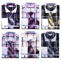 Men's Multi Color Check French Cuff Shirt Tie Hanky and CuffLinks
