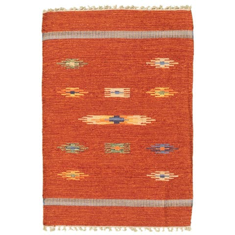 ECARPETGALLERY Flat-weave Bold and Colorful Red Wool Kilim - 2'0 x 3'0