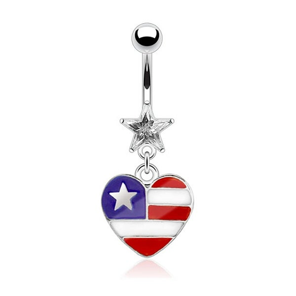 Prong Star Dangle Navel Belly Button Ring with Epoxy Heart Shaped American Flag 316L Surgical Steel