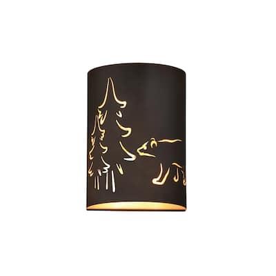 Katmai 2 Light Bronze Gold Rustic Bear Tree Flush Wall Sconce - 5-in W x 11-in H x 8-in D