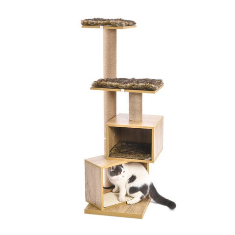 Presale 49'' Wood Cat Tree Activity Centre with Removable Washable Mat
