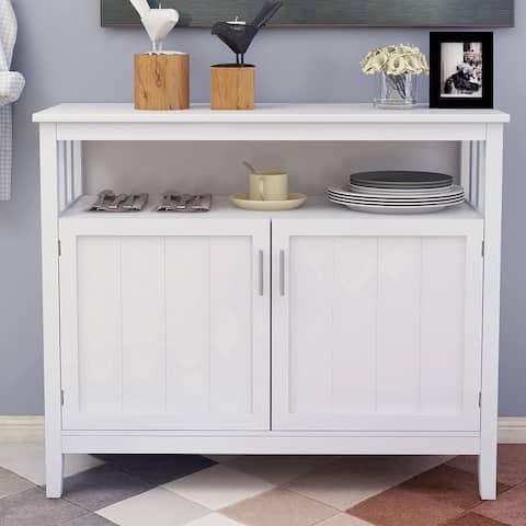 White 2-door Kitchen Storage Sideboard with Open Top Shelf