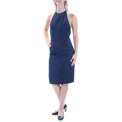 FAME AND PARTNERS Womens Navy Lace Low Back Halter Below The Knee Dress Size: 4