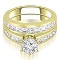 14K Yellow Gold 2.30 cttw. Channel Set Princess Cut Diamond Bridal Set HI,SI1-2 - Thumbnail 0