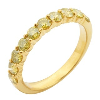 Prism Jewel 1.00CT Round Brilliant Cut 2.90MM Yellow Color Diamond Aniversary Band
