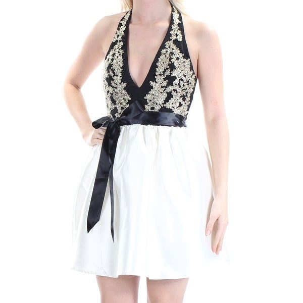 TEEZE ME Womens Ivory Embellished Tie Sleeveless Halter Above The Knee Cocktail Dress Juniors Size: 5