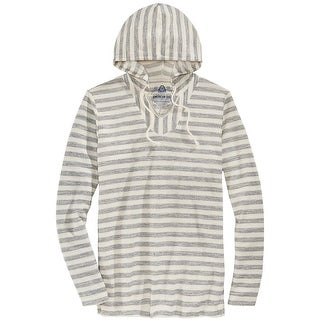 American Rag Hooded Striped French Terry Lightweight Sweater Stone Block Small S