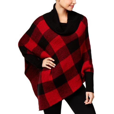 NY Collection Womens Poncho Sweater Plaid Short Sleeves - XL
