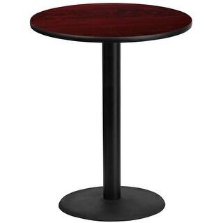 "Dyersburg 36'' Round Mahogany Laminate Table Top w/42"" High Round Base"