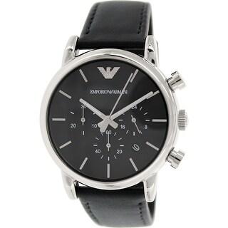 Emporio Armani Men's Classic Black Leather Japanese Quartz Fashion Watch