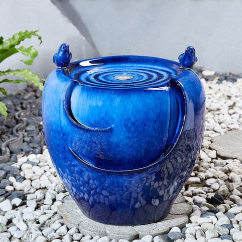 Glitzhome 20-Inch Red/ Blue Two Birds Embossed Pattern LED Ceramic Pot Fountain