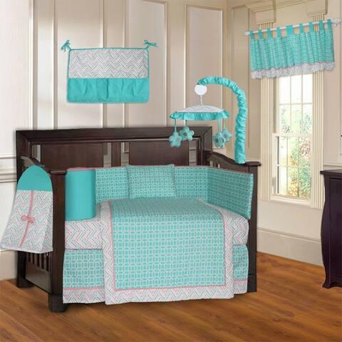 BabyFad Lattice Chevron Turquoise 10 Piece Crib Bedding Set