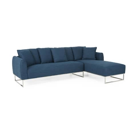 Wetmore Contemporary Sectional Sofa with Chaise Lounge by Christopher Knight Home