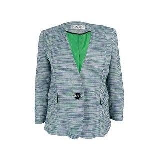 Kasper Women's Petite One-Button Tweed Jacket - leaf multi