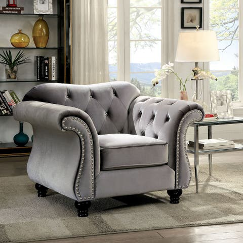 Furniture of America Tese Traditional Felt Button Tufted Armchair