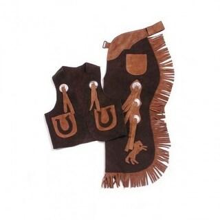 Tough-1 Western Chaps Kids Vest Set Split Leather S Black