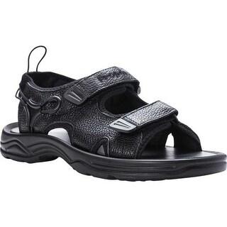 Propet Men's SurfWalker II Sport Sandal Black Full Grain Leather
