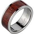 Titanium Wedding Band With Koa Wood Inlay 8 mm - Thumbnail 0