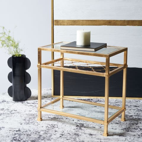 """SAFAVIEH Couture High Line Collection Hanzel Gold Leaf Side Table - 22"""" W x 13.1"""" L x 22"""" H"""