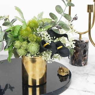 FloralGoods Faux Lily in Green Plant Arrangement Small - Black