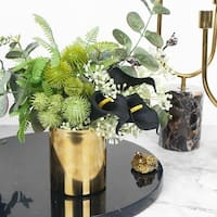 G Home Collection Faux Lily in Green Plant Arrangement Small - Black