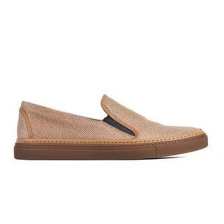 Brunello Cucinelli Gold Lurex Woven Slip on Sneakers