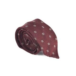 Luigi Borrelli Napoli Mens Burgundy Wool Floral Print Tie - One size
