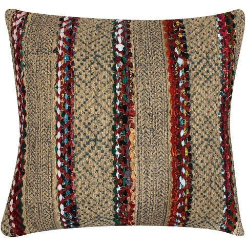 20 x 20 Inches Handwoven Jute Accent Pillow with Block Print, Brown and Red