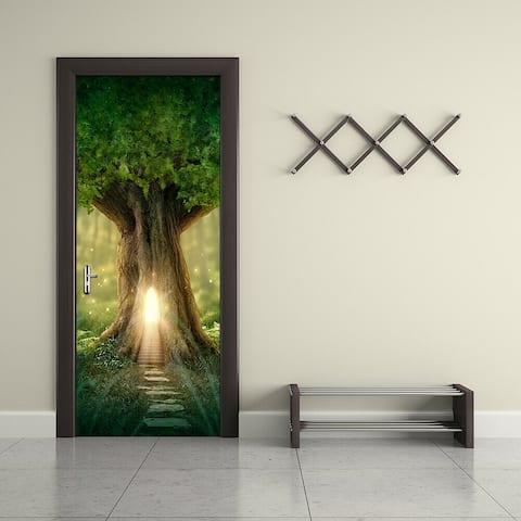 Walplus Fantasy Tree Europe Door Mural Peel and Stick Sticker 35x79in