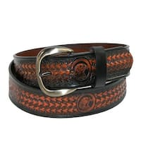 Hickory Creek Men's Leather Jean Belt with Embossed Eagle