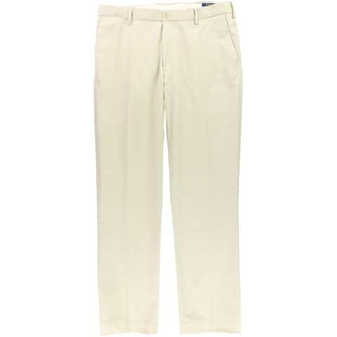 Ralph Lauren Mens Stretch-Twil Classic Dress Pants Slacks, Beige, 38W x 32L