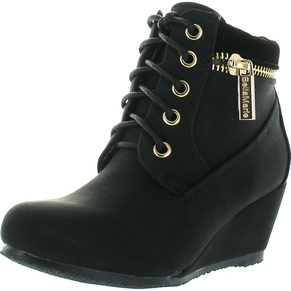 Bella Marie Kids Girls Sally31 Gold Zipper Decor Faux Nubuck Lace Up Wedge Ankle Boot Booties - Black